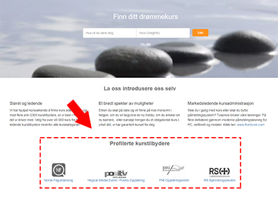 Promotering av leverandør på forsiden til Kursguiden